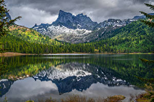Hintergrundbilder Russland Gebirge See Wälder Lake Svetloye Ergaki National Park in Khakassia Republic Natur