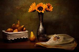 Hintergrundbilder Stillleben Sonnenblumen Birnen Vase das Essen