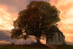 Wallpapers Sunrise and sunset Church Rays of light Trees Cross