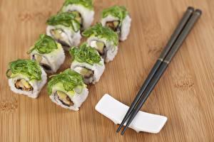 Bureaubladachtergronden Sushi Rijst Eetstokjes spijs