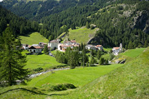 Fotos Schweiz Berg Haus Alpen Dorf Bäche Mulegns Natur