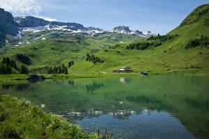 Hintergrundbilder Schweiz Gebirge See Alpen Muotathal, Waldisee Natur
