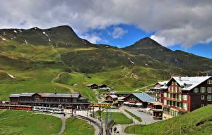 Fotos Schweiz Berg Eisenbahn Züge Alpen Jungfrau Natur