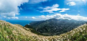 Bureaubladachtergronden Taiwan Berg De kust Hemelgewelf Wolken Vallei Keelung Mountain