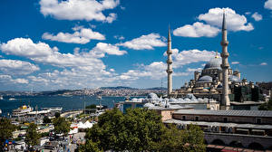 Papel de Parede Desktop Turquia Istambul Mesquita Nuvem Cidades