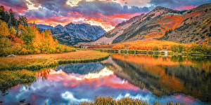 Pictures USA Autumn Mountain Lake Clouds Reflected Bishop Creek