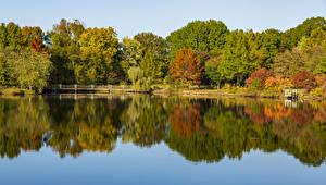 Wallpapers USA Autumn River Bridges Trees Ozarks Missouri