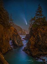 Sfondi desktop USA Litorale Stella Paesaggio Notte Falesia Alberi Oregon Natura