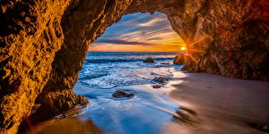 Pictures USA Coast Sunrise and sunset Arch Crag California Sun