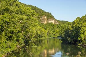 Tapety na pulpit Stany zjednoczone Lasy Rzeka Skałki Missouri Ozarks przyroda