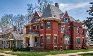 Papel de Parede Desktop Estados Unidos Edifício Mansão Design Franklin Square Historic District, Bloomington, Illinois