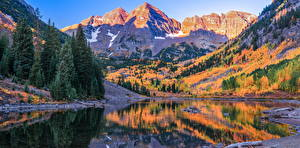 Image USA Mountains Autumn River Trees Maroon Bells