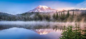 Fotos Vereinigte Staaten Berg Parks See Nebel Washington Mount Rainier National Park Natur