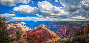 Sfondi desktop USA Parchi Parco nazionale del Grand Canyon Paesaggio Panorama Canyon Nubi Falesia Natura
