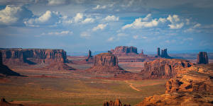 Bureaubladachtergronden Verenigde staten Parken Falesia Wolken Monument Valley Natuur