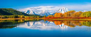 Sfondi desktop USA Parchi Montagne Autunno Lago Paesaggio Panoramica Grand Teton National Park Natura