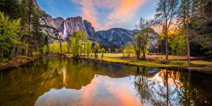 Bilder USA Parks Gebirge Flusse Yosemite Bäume Kalifornien Natur
