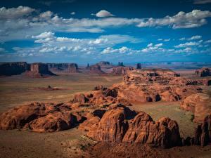 Bureaubladachtergronden Amerika Parken Hemelgewelf Falesia Wolken Monument Valley Natuur