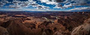 Bureaubladachtergronden Verenigde staten Landschap van Panorama Parken Hemelgewelf Falesia Kloof Canyonlands National Park, Utah