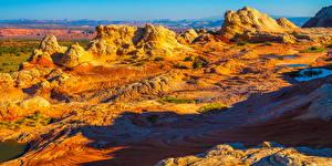 Sfondi desktop USA Paesaggio Panoramica Il dirupo White Pocket, Arizona Natura