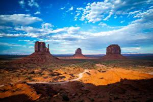 Bureaubladachtergronden Amerika Hemelgewelf Wolken klif landform Monument Valley, Utah Natuur