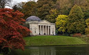 Hintergrundbilder Vereinigtes Königreich Parks Gebäude Flusse Bäume Stourhead Gardens, Stourton, Wiltshire Natur