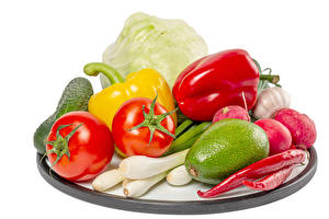 Wallpapers Vegetables Tomatoes Bell pepper Chili pepper Radishes Cabbage Salad onions Avocado White background Food