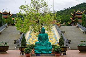 Tapety na pulpit Wietnam Klasztor Rzeźbiarstwo Świątynia Pagoda Schody Truc Lam Ho Quoc Zen Monastery in Phu Quoc