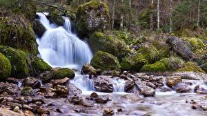 Pictures Waterfalls Stones Moss