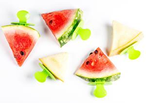 Sfondi desktop Angurie Melone Sfondo bianco Pezzi