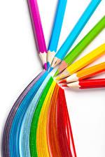 Picture White background Pencils Multicolor