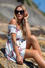 Wallpaper Blonde girl Frock Legs Glasses Glance Wikky young woman