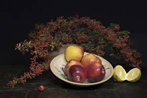 Desktop hintergrundbilder Äpfel Zitrone Eberesche Teller Ast das Essen