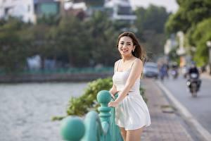 Desktop hintergrundbilder Asiaten Unscharfer Hintergrund Braune Haare Blick Lächeln Hand Rock Mädchens