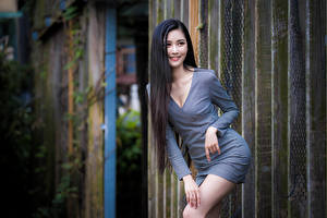 Wallpapers Asian Brunette girl Smile Pose Dress Glance young woman