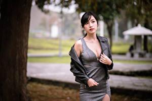 Hintergrundbilder Asiatische Blick Kleid Dekolleté