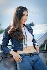 Fonds d'écran Asiatique Voir Veste Cheveux noirs Fille Main Jeans Filles