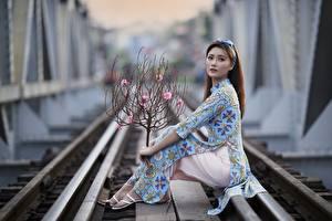 Bakgrunnsbilder Asiatisk Posere Jernbaneskinner Kjole Blikk Grener Uklar bakgrunn