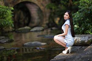 Обои для рабочего стола Азиатка Позирует Сидящие Платье Размытый фон Туфли Девушки