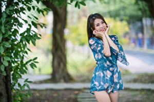 Hintergrundbilder Asiaten Lächeln Pose Bokeh junge Frauen