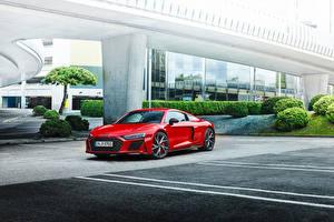 Hintergrundbilder Audi Rot Metallisch R8 V10 performance RWD, (Worldwide), 2021 automobil