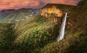 Bakgrunnsbilder Australia Parker Fjell Skoger Fosser Govetts Leap Falls Blue Mountains National Park