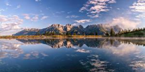 Fonds d'écran Autriche Montagnes Lac Alpes Nuage Reflet Kaisergebirge
