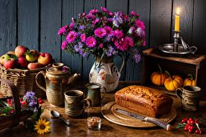 Picture Bread Bouquets Apples Candles Knife Still-life Wicker basket Mug Spoon Flowers