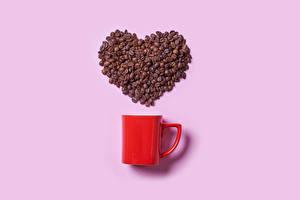 Bureaubladachtergronden Koffie Roze achtergrond Mok Beker Graan Hartje Voedsel