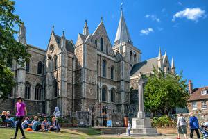 Bureaubladachtergronden Engeland Kathedraal Hemelgewelf Mensen Rochester Cathedral Steden