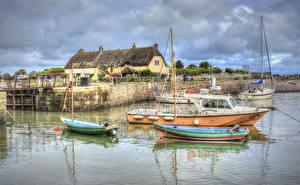 Hintergrundbilder England Haus Fluss Schiffsanleger Binnenschiff HDR Culbone