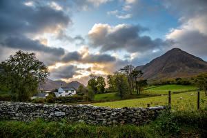 Bilder England Gebirge Park Wolke Zaun Steinernen Lake District, Cumbria Natur