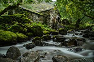 Hintergrundbilder England Flusse Steine Park Laubmoose Bäume Wassermühle Lake District, Cumbria Natur