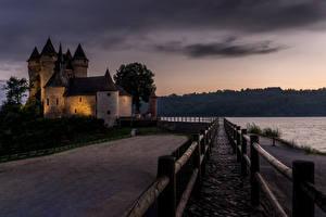Bureaubladachtergronden Frankrijk Burcht Avond Waterfront Castle of Val Steden